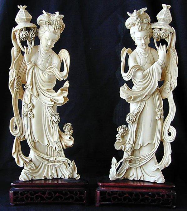 "120: PR. 19th C. Chinese Ivory "" Kwan Yin"" Figures"