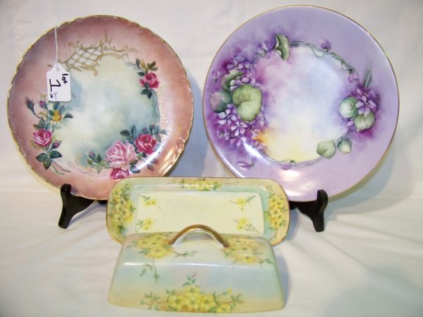 1: 3 Pc. Limoges Handpainted Covered Butter & 2 Plates