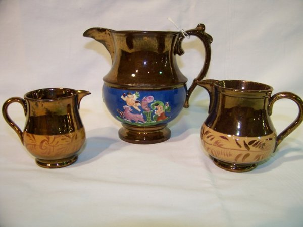 2: 3 Pc. Copper Luster Handled Cream Pitchers
