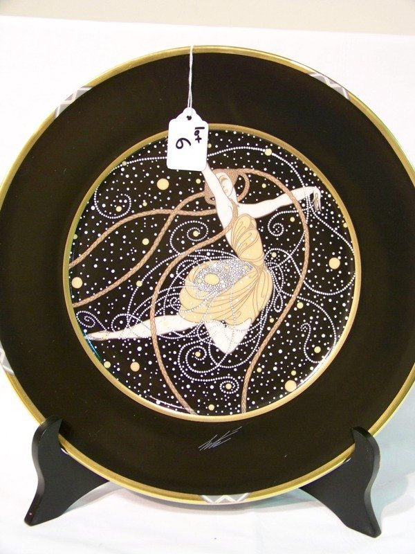 6: 1990 Erte Signed Decorator Plate By Ondee
