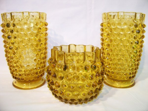 11: 3 Pc Vintage Amber Hobnail Glass Vase's