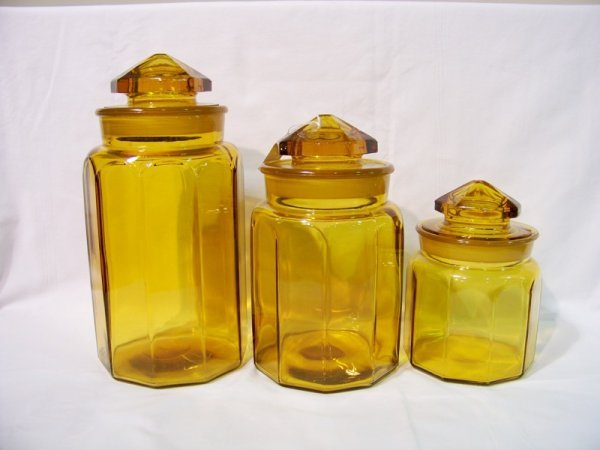 13: 3 Pc. Vintage Amber Glass Canister Set
