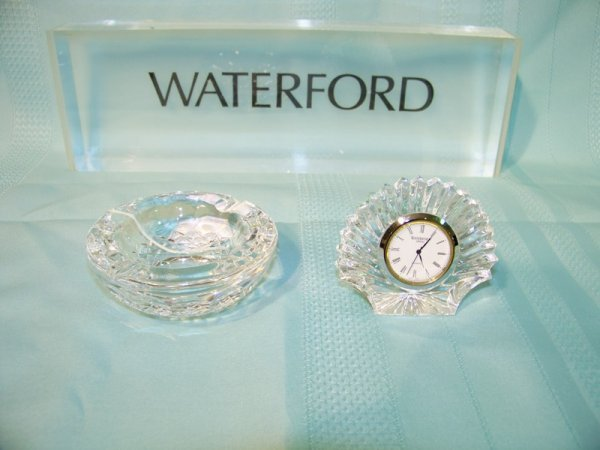 19: 2 Pcs. Waterford Crystal Clock & Ash Tray