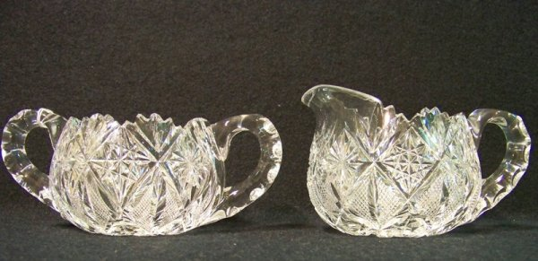 23: Pair Brilliant Cut Crystal Creamer & Sugar