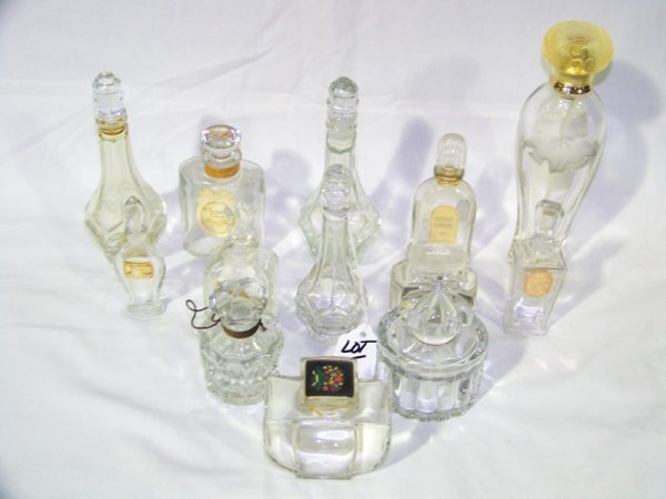 5: 13 Pc Vintage Glass & Crystal Perfume Bottles