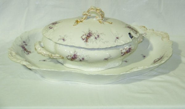11: Vintage 3 Pc Wm. Guerin & Co Limoges Tureen & Tray