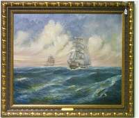 98: 19th C. American School O/C of Grand Sailing Fleet