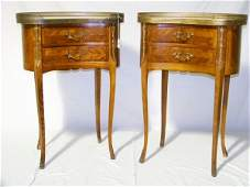 136 Pr Early French Satin Wood Inlaid Kidney Side Tbls
