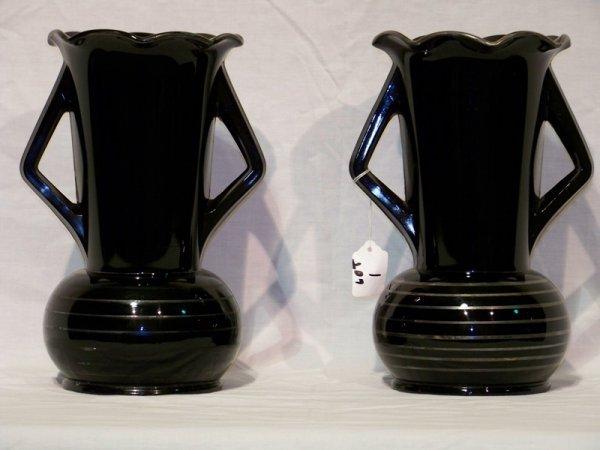 """1: Pair Deco Black Amethyst 11"""" Handled Vases"""