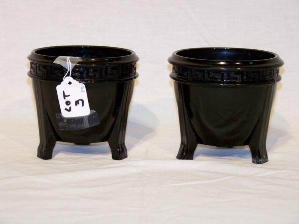 3: Pair of Black Amethyst Greek Key Vases