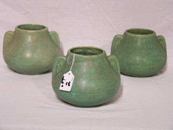 2: 3 Weller/McCoy Green Matte Glaze Pottery Vases