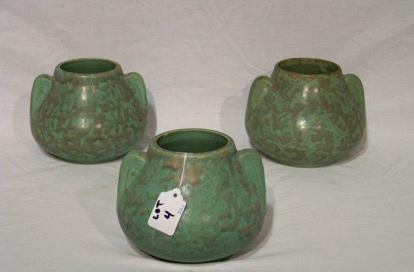 4: 3 Weller/McCoy Green Matte Glaze Pottery Vases