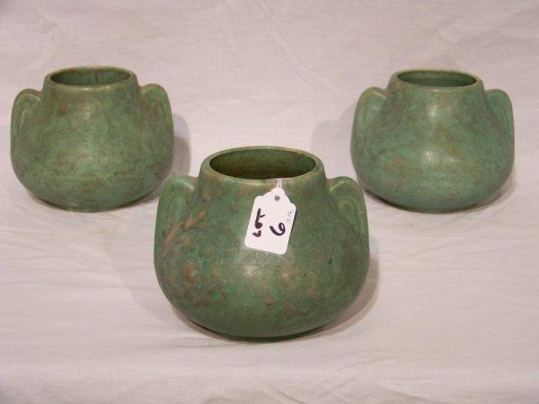 6: 3 Weller/McCoy Green Matte Glaze Pottery Vases