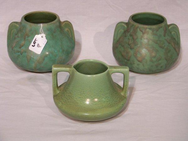8: 3 Weller/McCoy Green Matte Glaze Pottery Vases