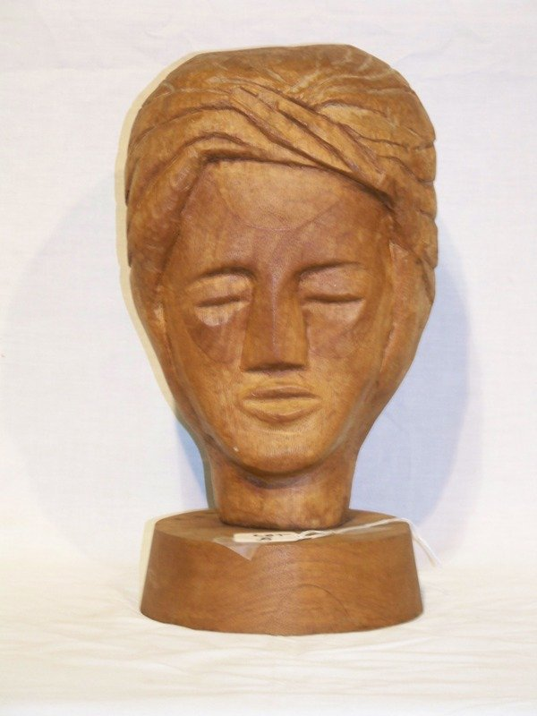 5: Vintage Chinese Wooden Carved Head