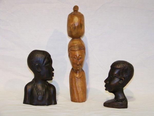 9: 3 Vintage Carved African Figure's