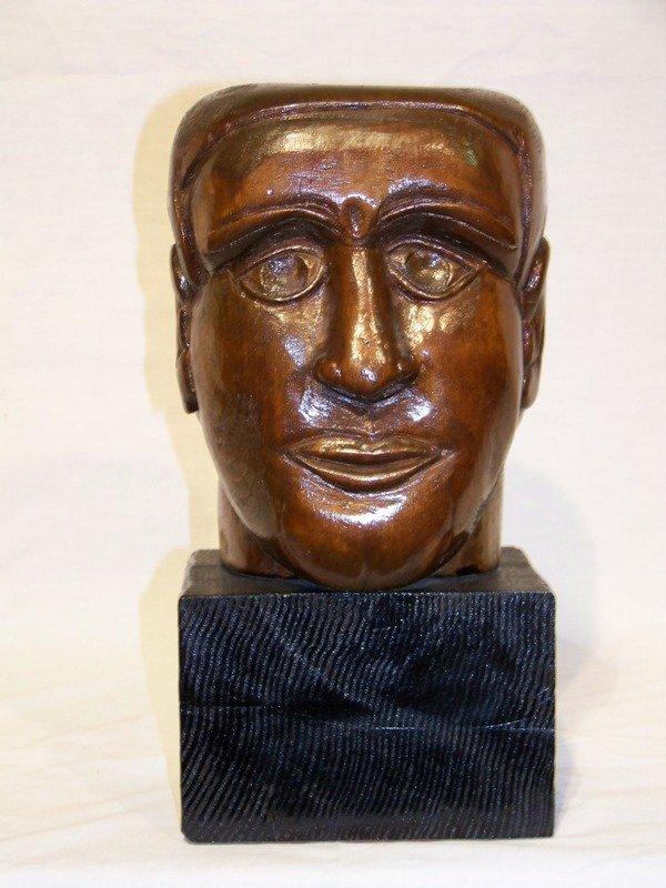 13: Vintage Signed MH Wooden Carved Bust
