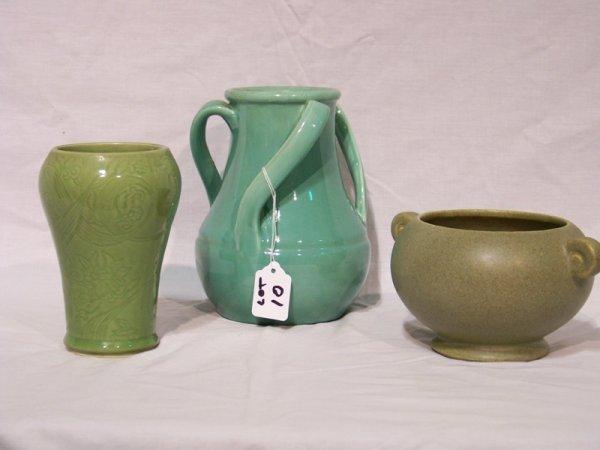10: 3 Vintage Green Pottery Vases