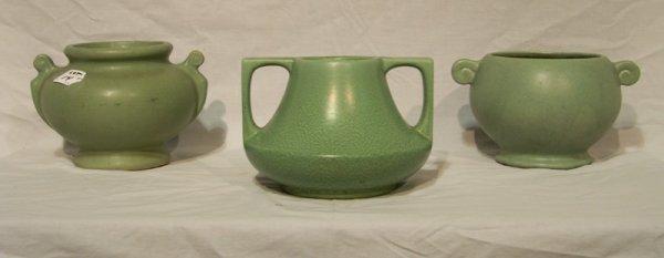 14: 3 Pcs. of Weller / McCoy ? Matte Green Pottery Vase