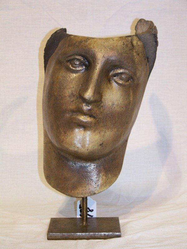 18: Vintage Signed Pottery Face Sculpture
