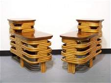 87: Pair of Paul Frankl Rattan Step Side Tables