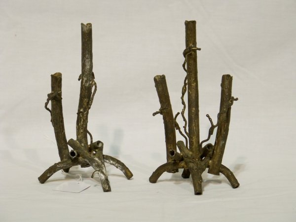 19: Pair of Early Jere style Metal Tree Candle Holders