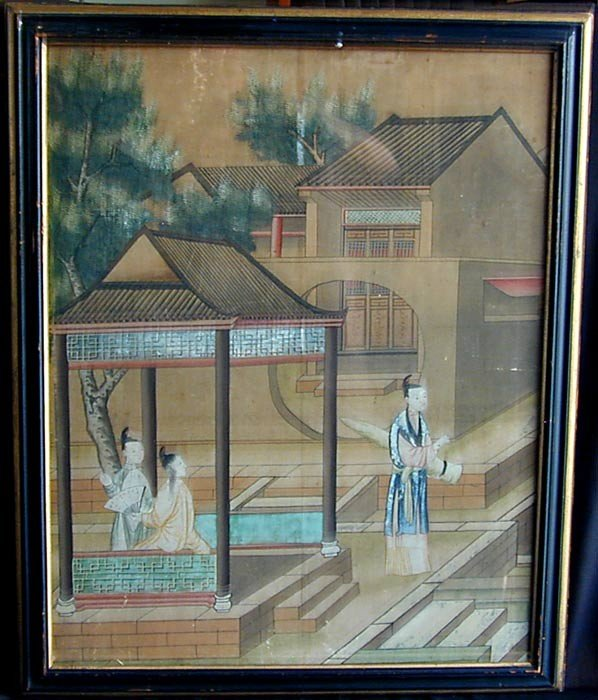 """90: ANTIQUE CHINESE TRADE EXPORT PAINTING ON PAPER 23"""""""