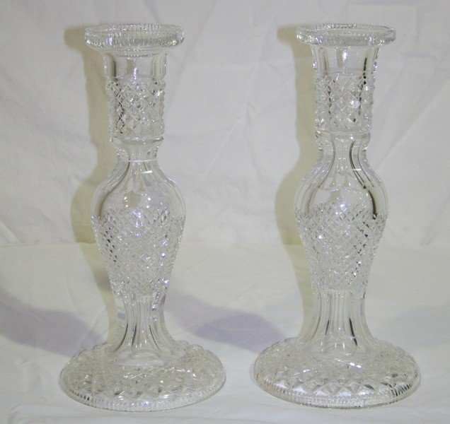 "2: Pair Waterford Crystal 11"" Candlesticks / Lamp Base"