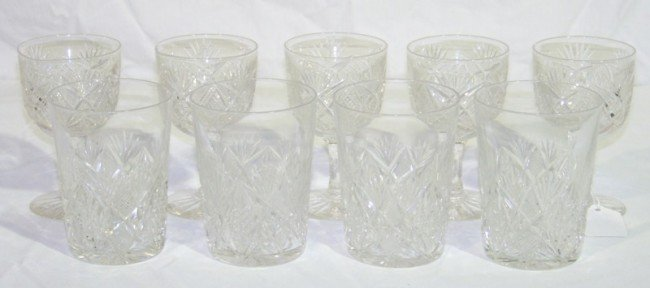 13: 9 Pcs. Of Early Cut Crystal Wine & Hard Ball Glasse