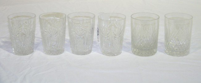 13A: 6 Early Cut Crystal Glasses