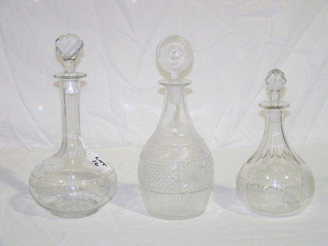 16: 3 Etched Crystal Decanters
