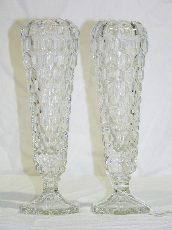 18: Pair Early Honey Comb Style Glass Vases