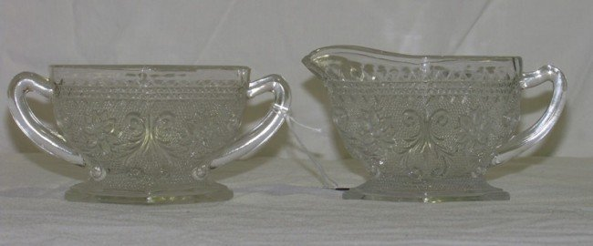 19: Pair of Early Floral Pressed Glass Creamer & Sugar