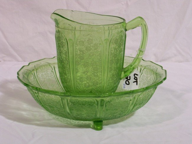 20: Early Green Depression Glass Wash Bowl & Pitcher