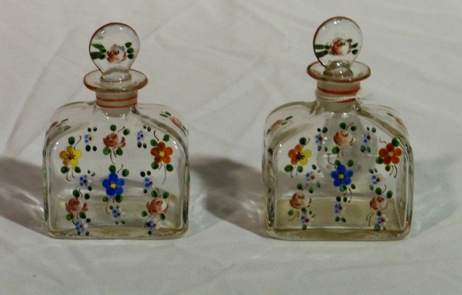 23: Pair of Early Hand Blown & Painted Perfume Bottles