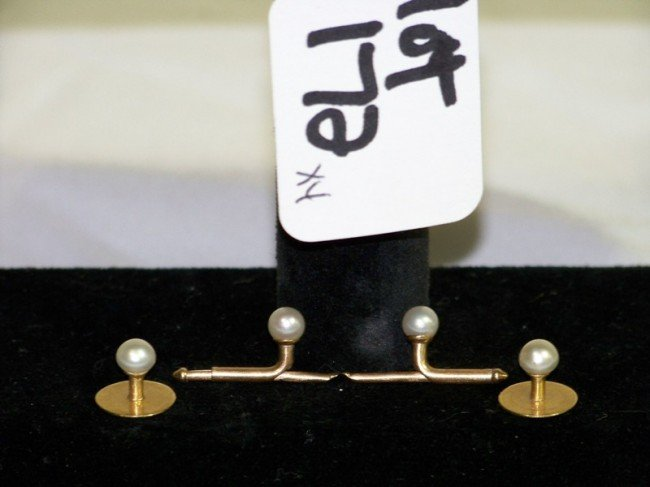 172: 2 Pair's  Tiffany Gold & Pearl Tuxedo Studs & Cuff