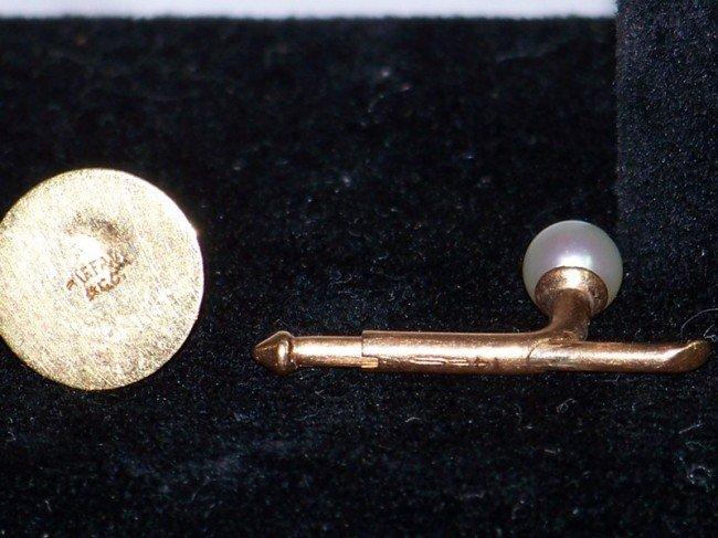 172: 2 Pair's  Tiffany Gold & Pearl Tuxedo Studs & Cuff - 3