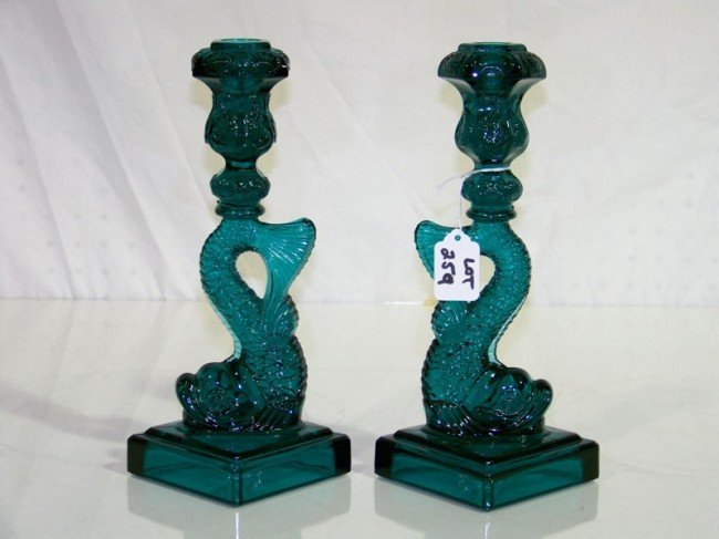 259: Pair Vintage MMA Green Glass Koi Fish Candlesticks