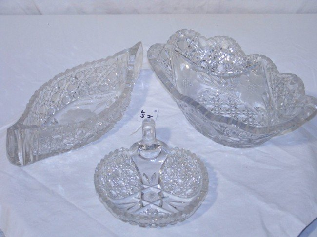 4: 3 Early Cut Glass Serving Pcs. Celery, Bowl & Tray