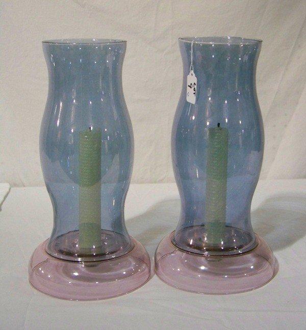 9: Pair Large Decorative Art Glass Hurricane Lamps