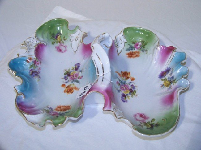 12: CT Germany  Porcelain H. Painted Handled Serving Tr
