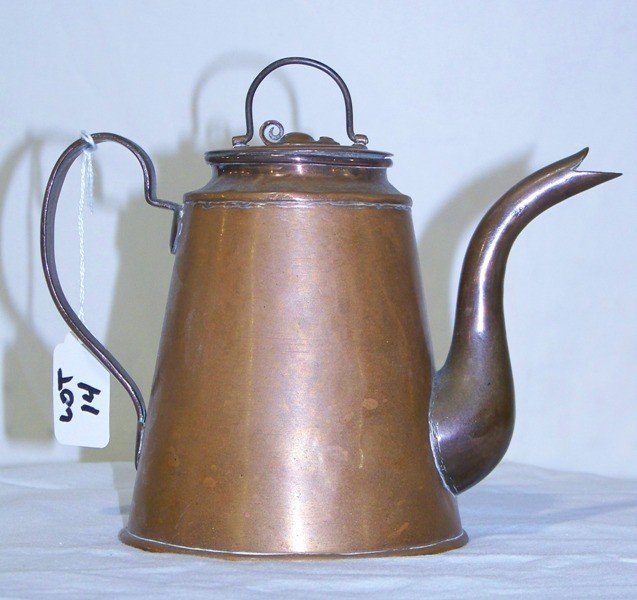 14: Antique Hand Forged Copper Tea Kettle