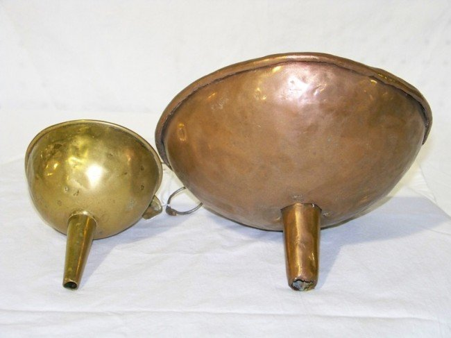 16: Pair Antique Copper Funnels
