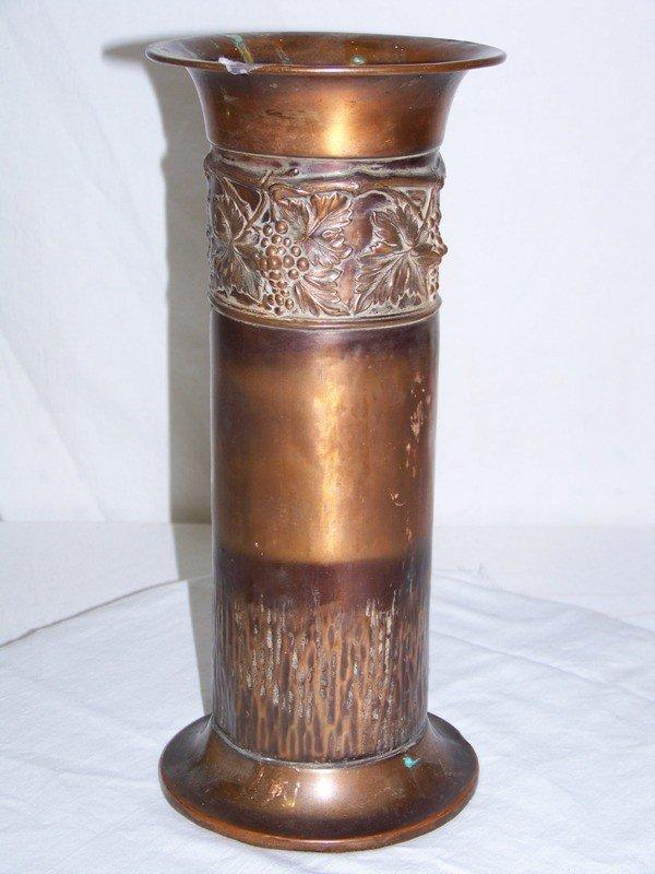 18: Vintage Arts & Crafts Copper Grape Pattern Urn 12 3