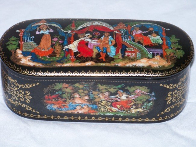 21: Russian Hand Painted Signed Porcelain Dresser Box
