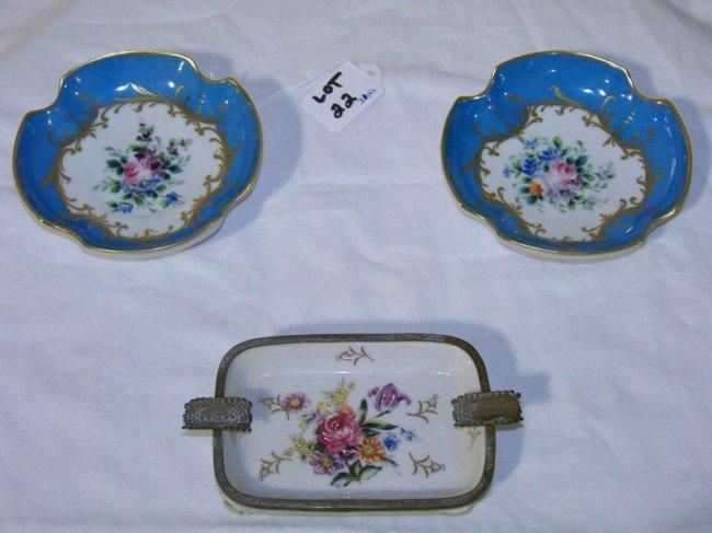 22: 3 Pcs. Hand Painted Old Paris Porcelain