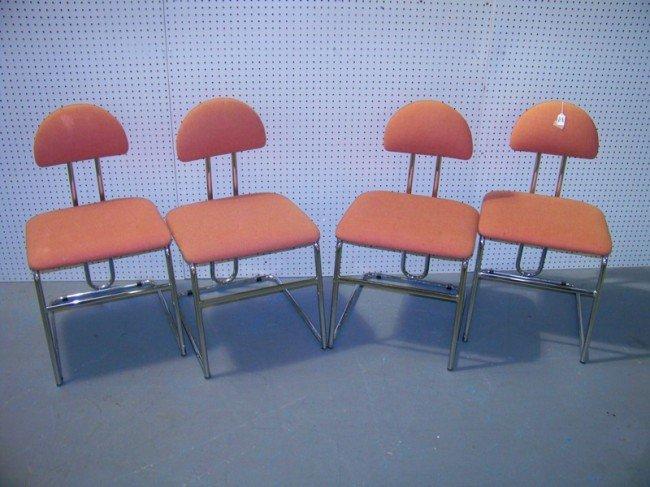 142: 4 Chrome Modern Chairs by Loewenstein / Oggo