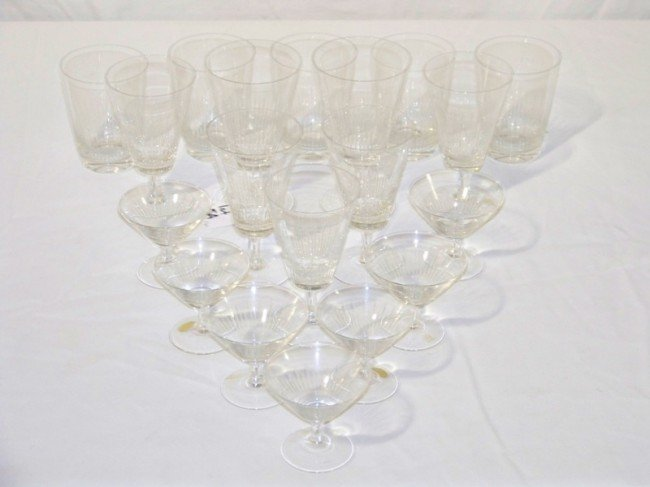 5A: 19 Pcs. of Rosenthal Modern Signed Cut Crystal Glas
