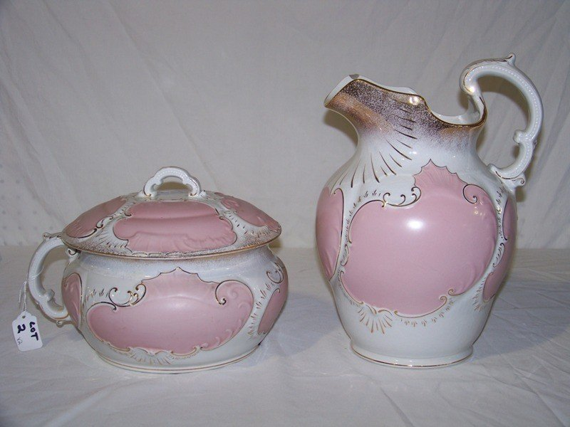 2: Antique Wash Pitcher & Piss Pot Signed Wyoming