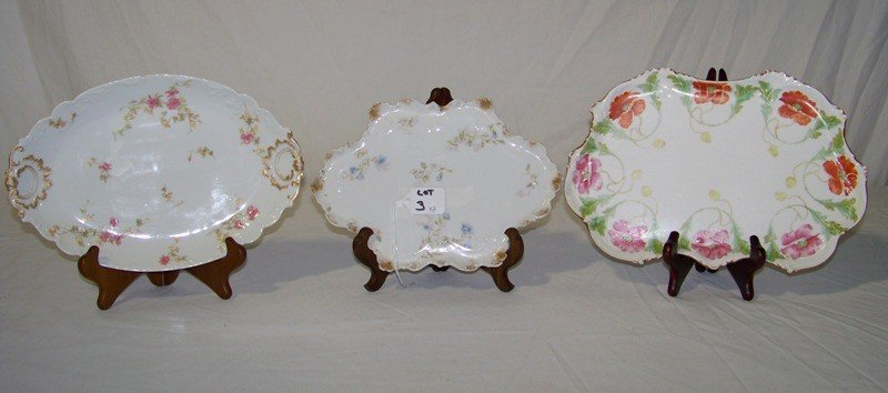 3: 3 Early Hand Painted Limoges Dresser Trays